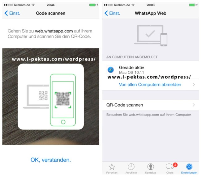 WhatsApp Web iOS Screens