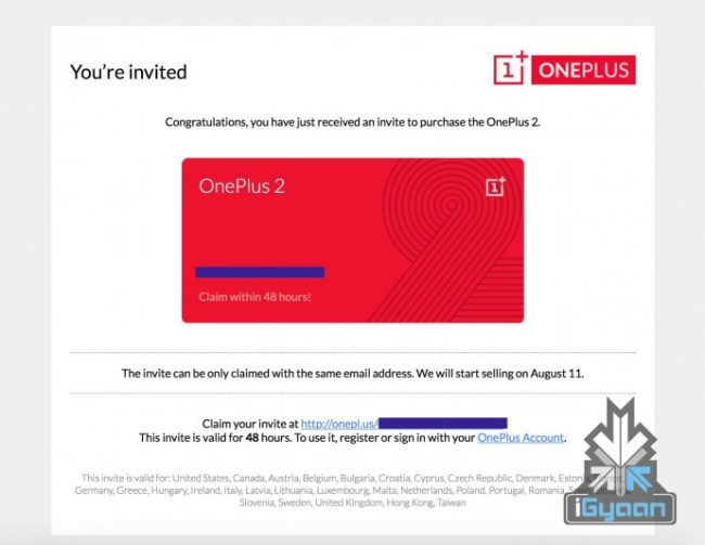 oneplus two invite