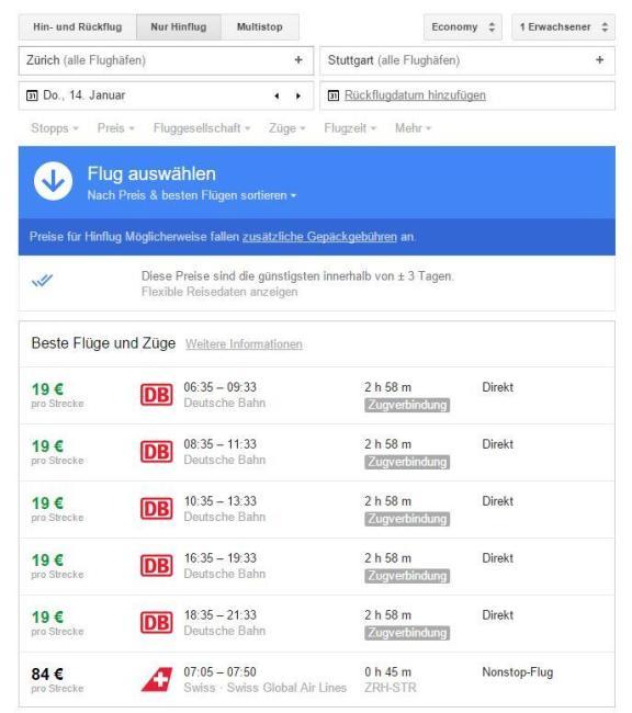 google flüge bahn