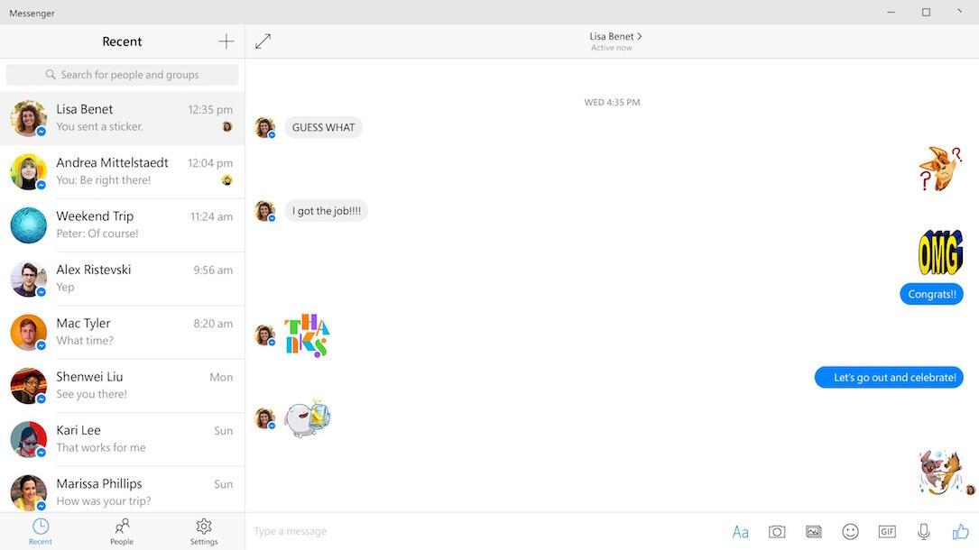 Facebook Messenger Windows 10 Screen