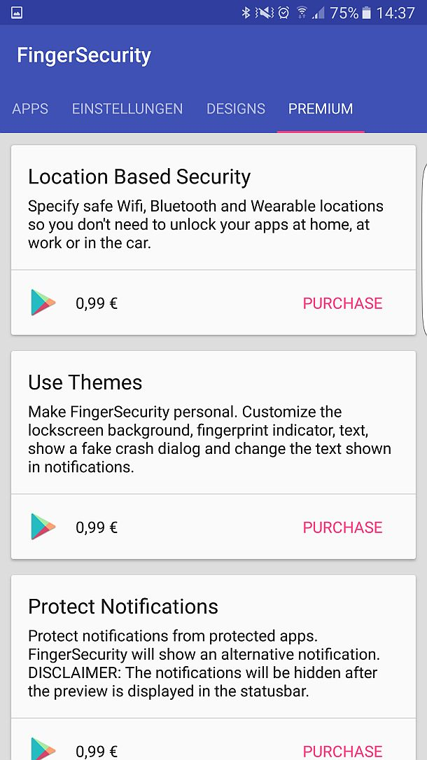 Finger Security In App Kauf