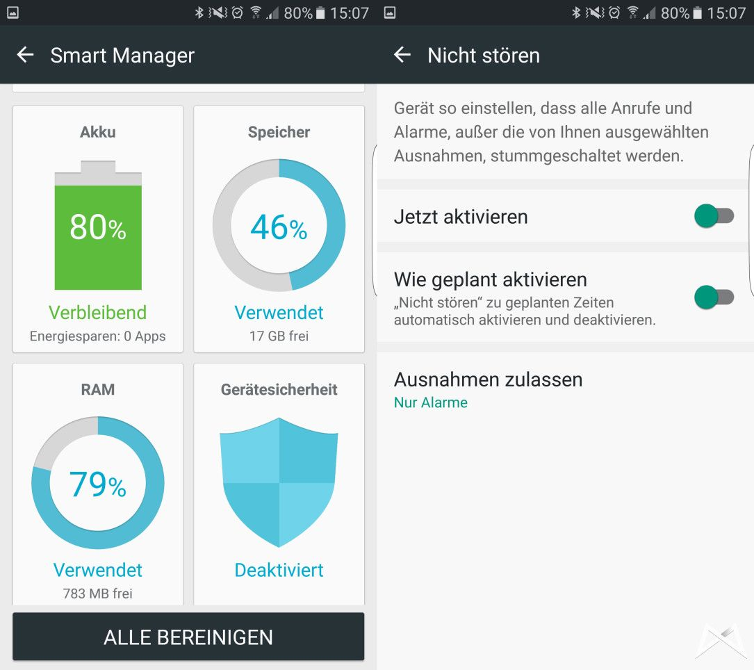 Smart Manager Nicht stören Samsung Galaxy S7 edge mobiFlip
