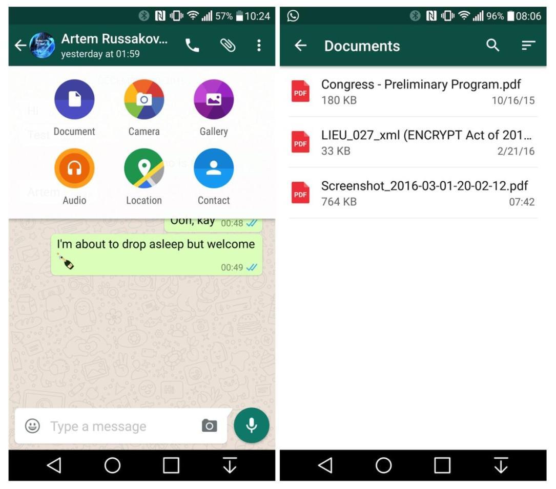 WhatsApp Beta Dokumente