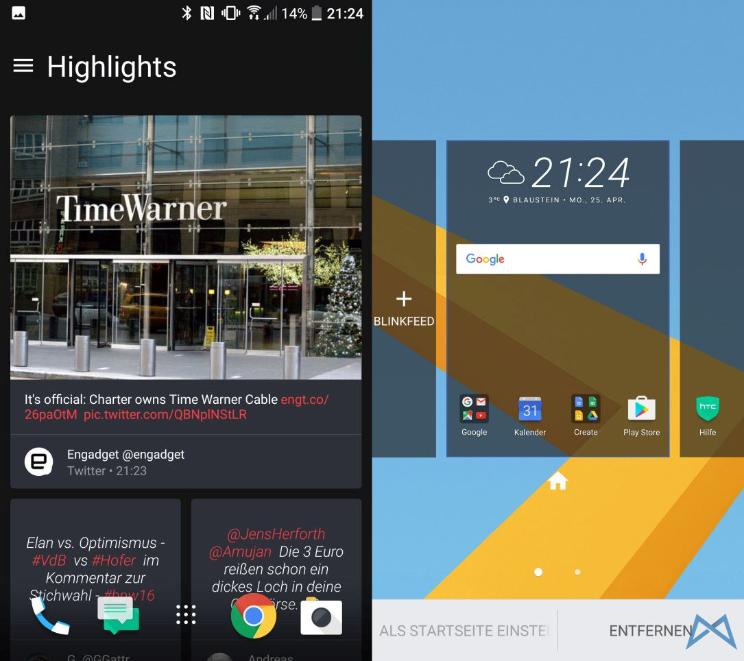 HTC 10 Blinkfeed Homescreen