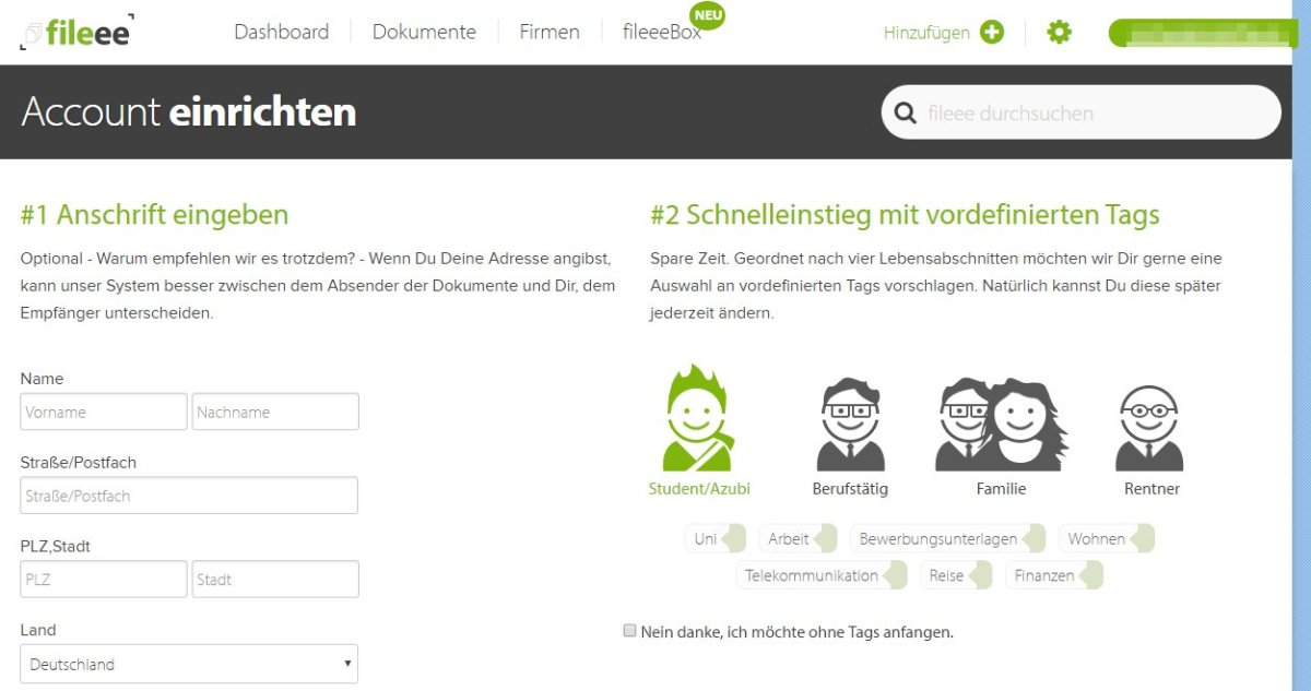 fileee Account einrichten