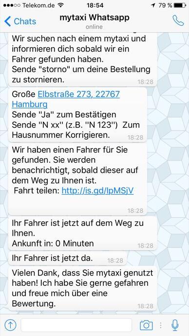 mytaxi whatsapp