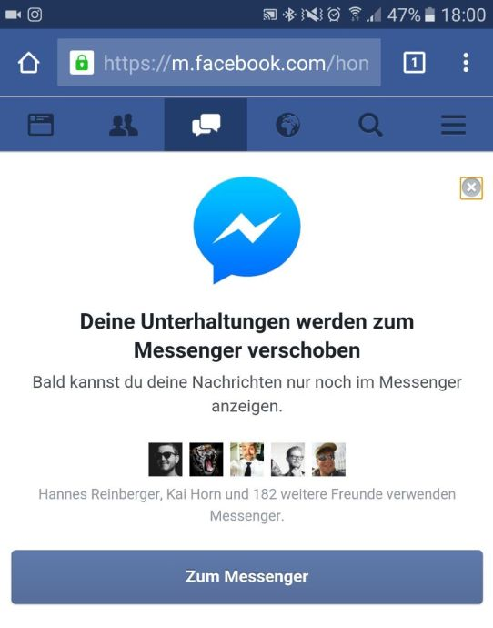 facebook messenger installation zwang