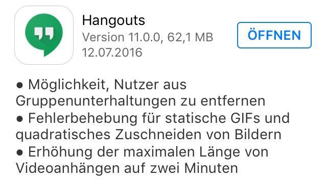 Hangouts Version 11 iOS Changelog