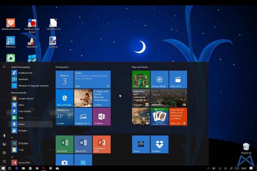 Windows 10 Anniversary Update Startmenu