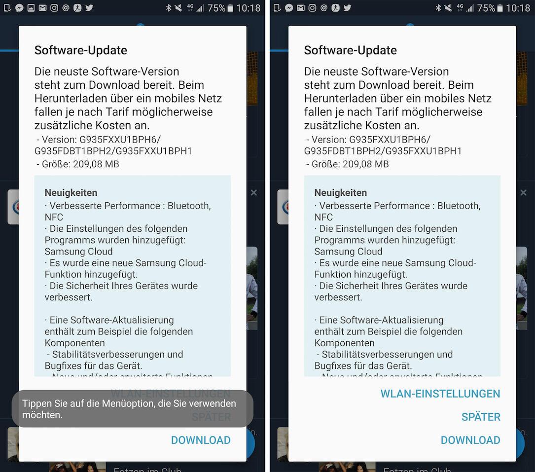 Galaxy S7 Update Screen