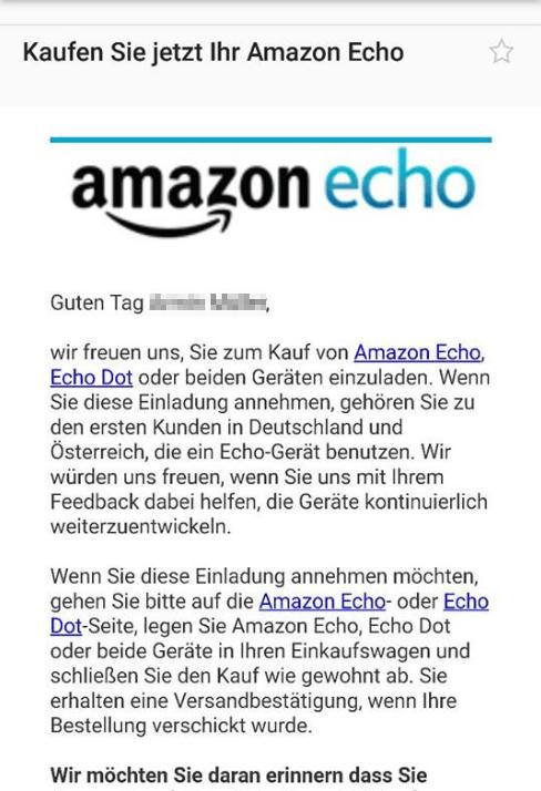 Amazon Echo Einladung Bekommen
