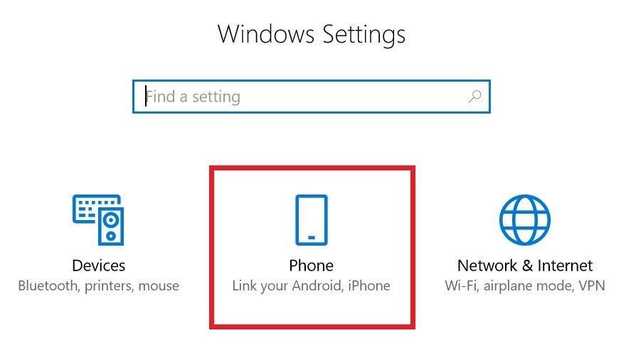 Windows Settings Phone