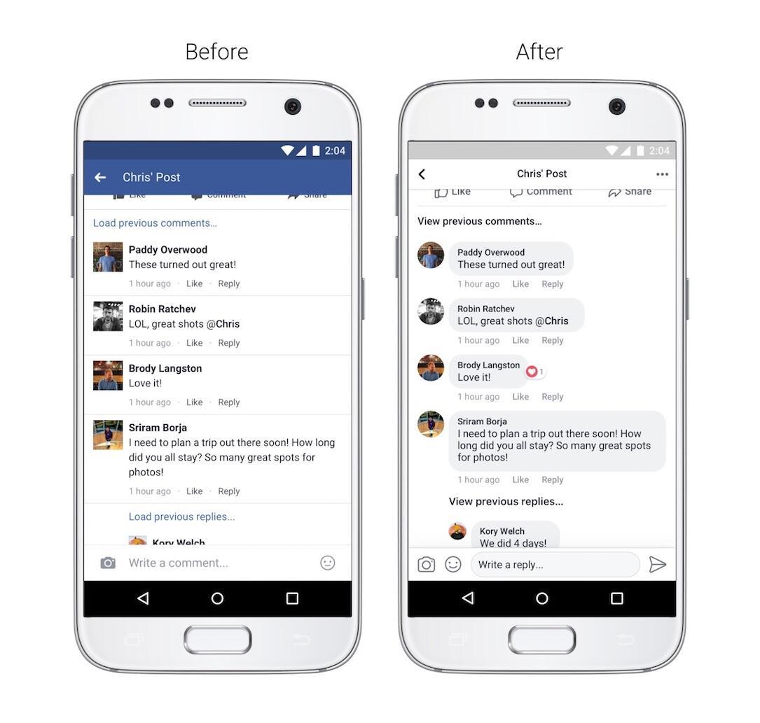 Facebook Design Kommentare