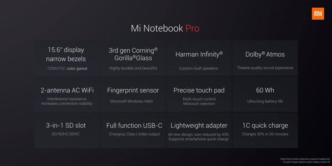 Xiaomi Mi Notebook Pro Specs2