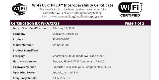 Galaxy Note 8 Oreo Certification