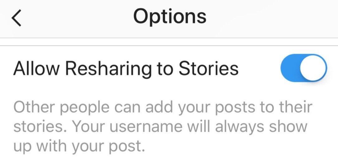Instagram Re Sharing Option