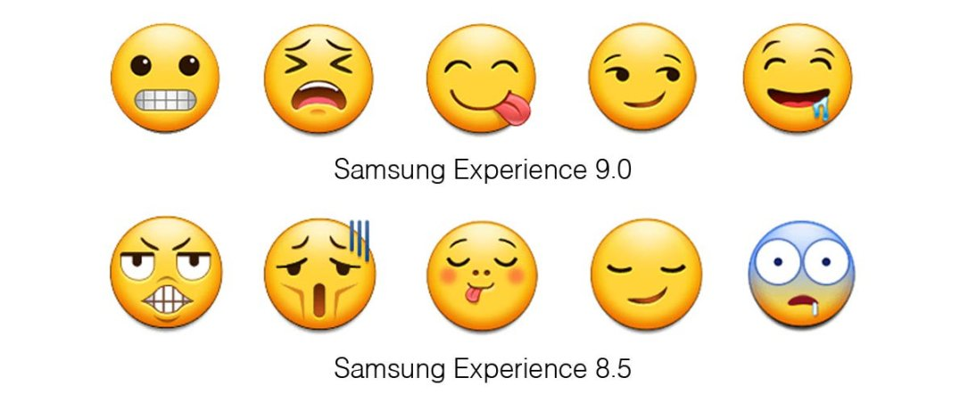Samsung Experience 9 0 Emojipedia Comparison Grimace Weary Savouring Smirk Drool