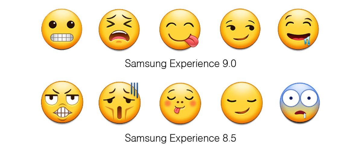 Samsung Experience 9 0 Emojipedia Comparison Grimace Weary Savouring Smirk Drool
