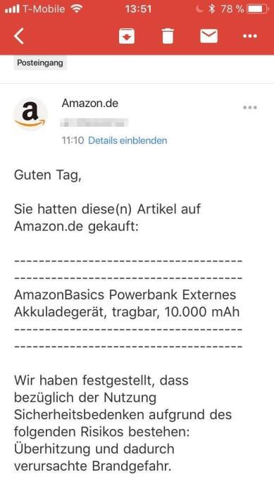 Amazon Akku Lader Rueckruf