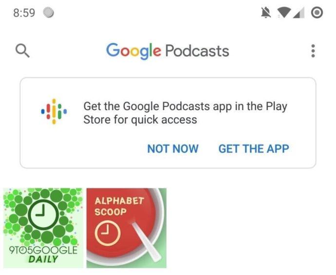 Google Podcasts App Hinweis