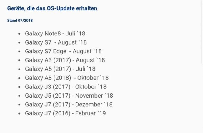 Samsung Oreo Update Zeitplan Android