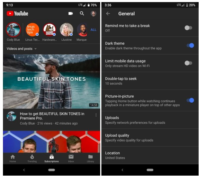 Youtube Android Dark Mode