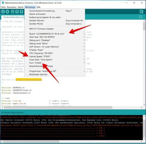 Arduino 1.8.5 Einstellungen