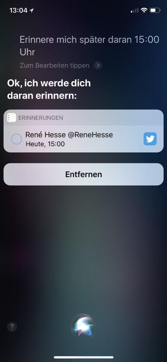 Siri Ios Erinnerung 1