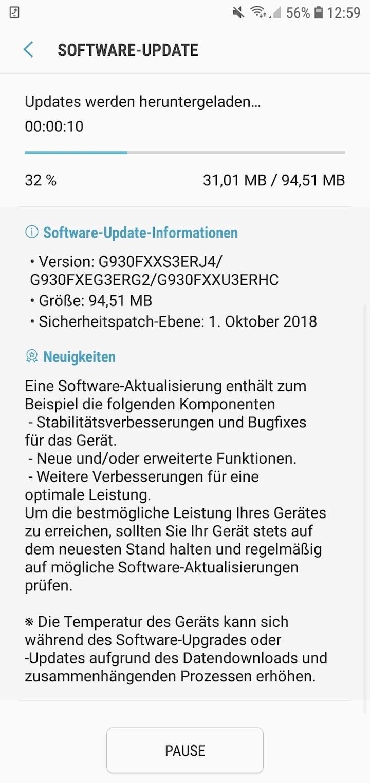 Samsung Galaxy S7 Oktober Update