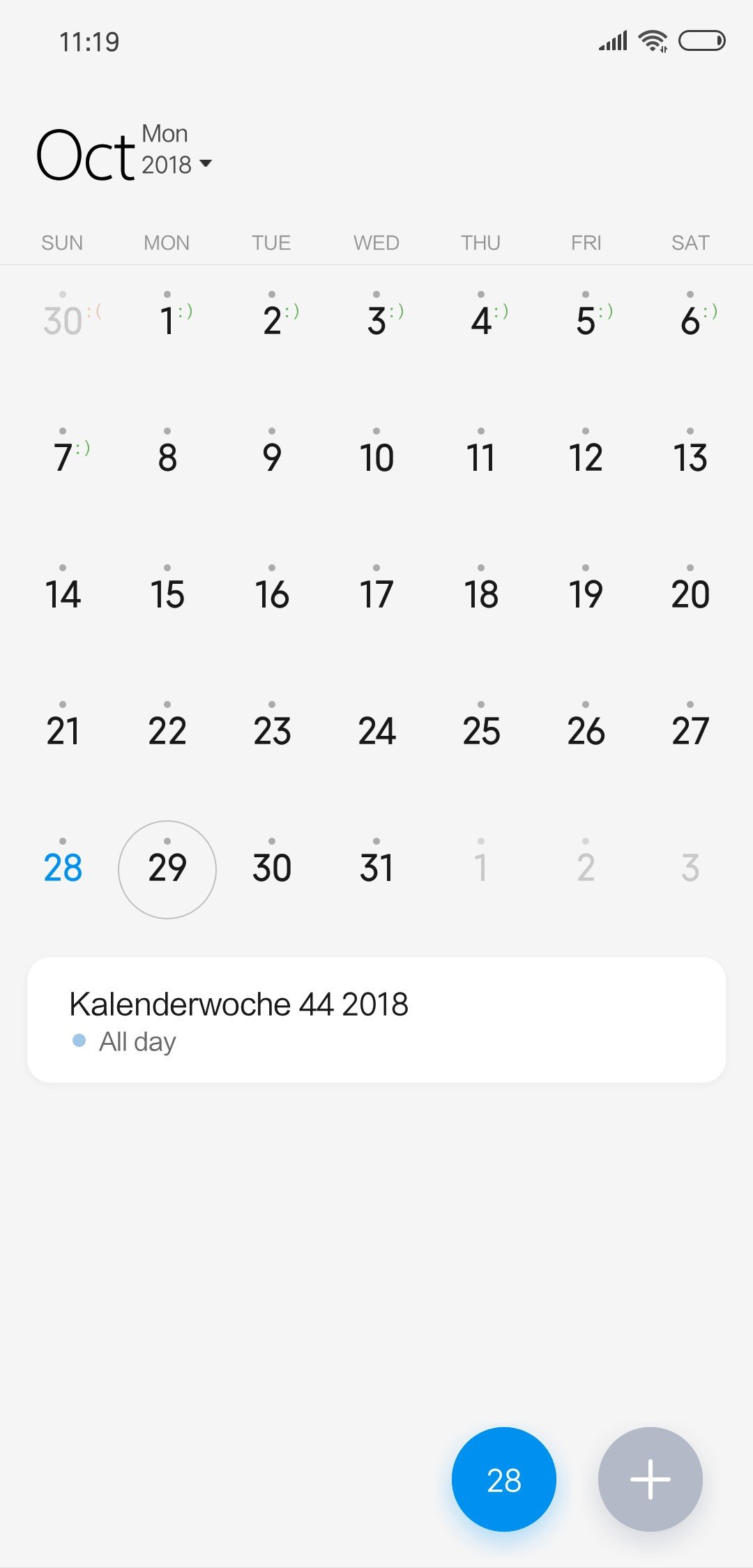 Xiaomi Mi 8 Calendar