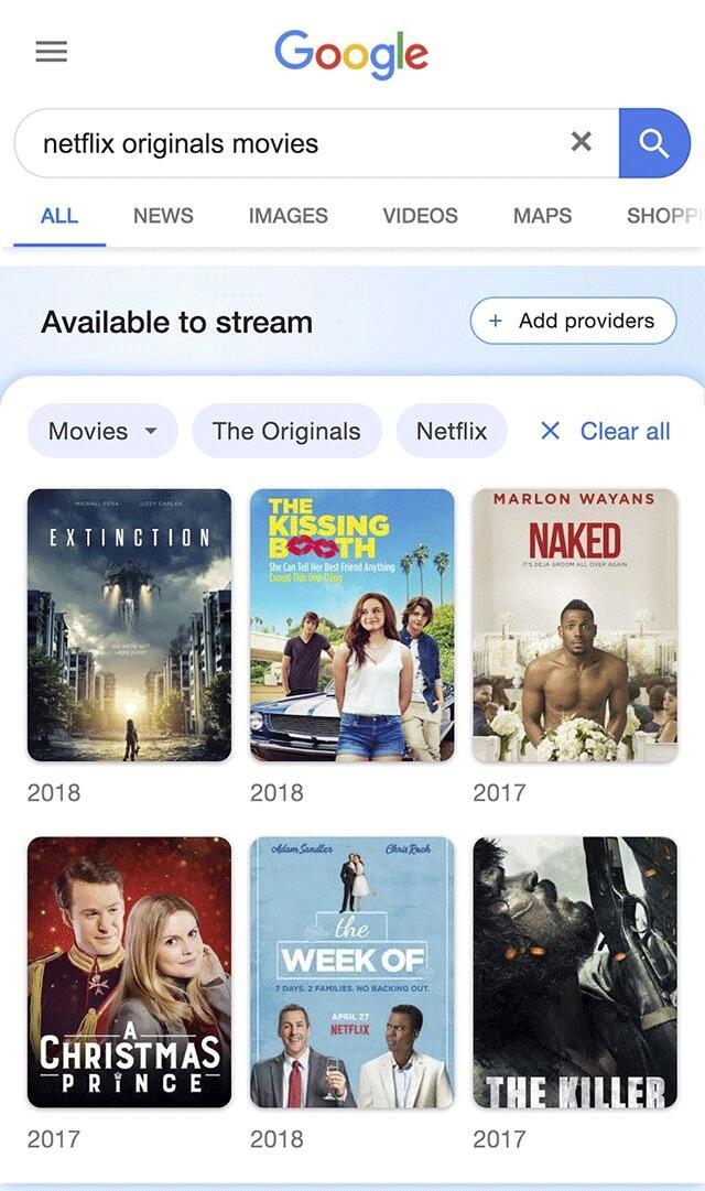 Google Suche Streaming Ansicht