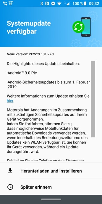 Z3 Play Moto Android Pie