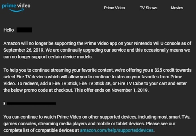 Amazon Prime Video Wii U Hinweis