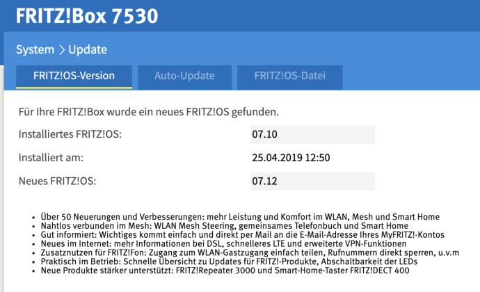 Fritzbox Update 23juli2019