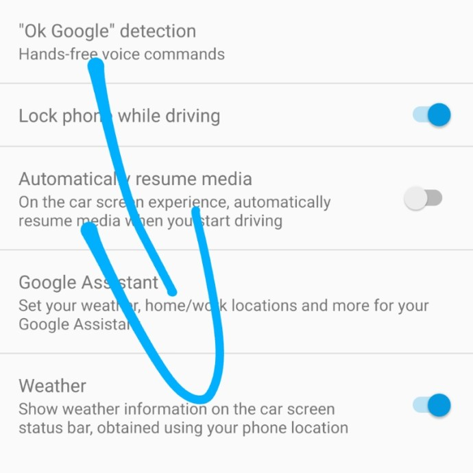 Android Auto Wetter Option