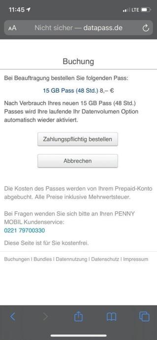 Penny Mobil Datenpass 2