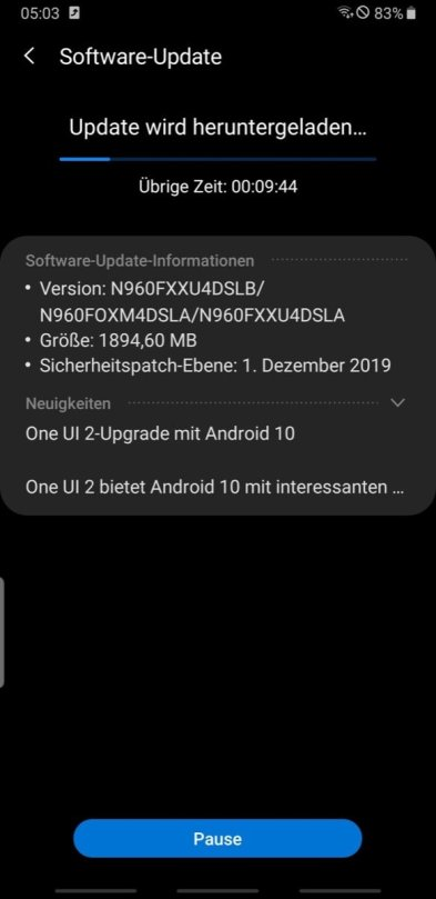 Note 9 Android 10 Update