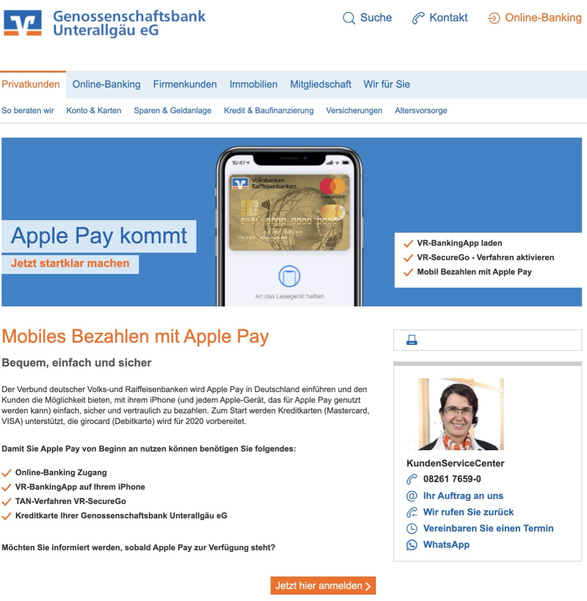 Volksbank Apple Pay