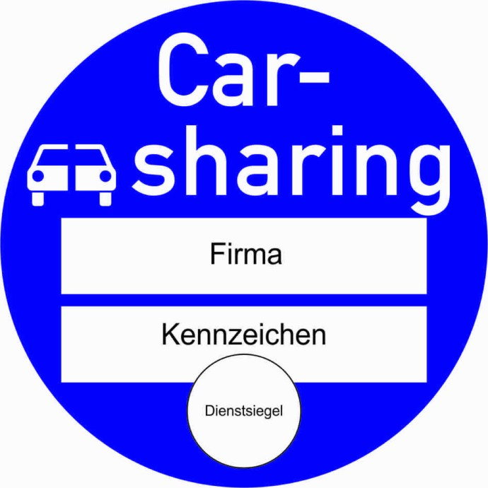 Carsharing Plakette Muster
