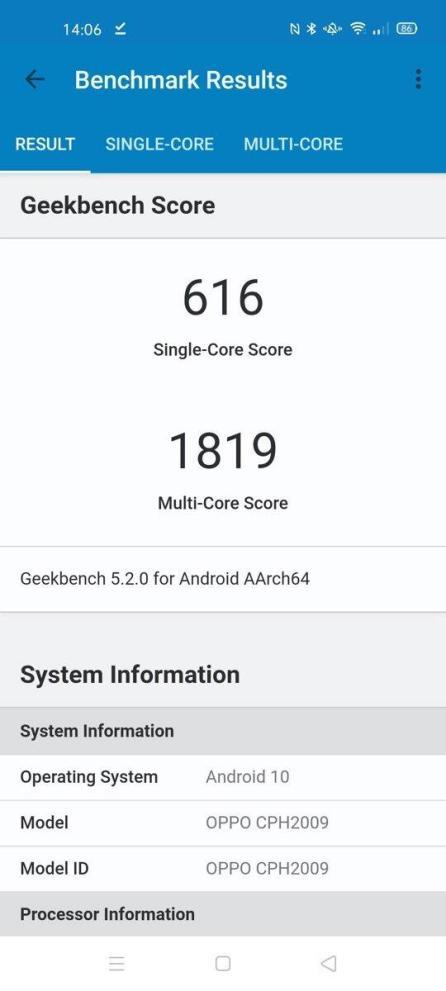 Oppo Find X2 Neo Geekbench