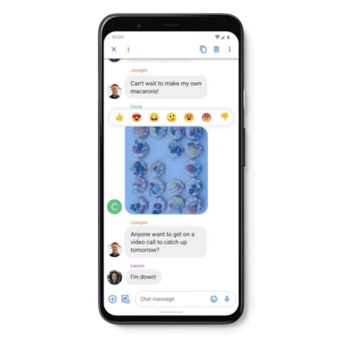 Google Messages Reaktionen