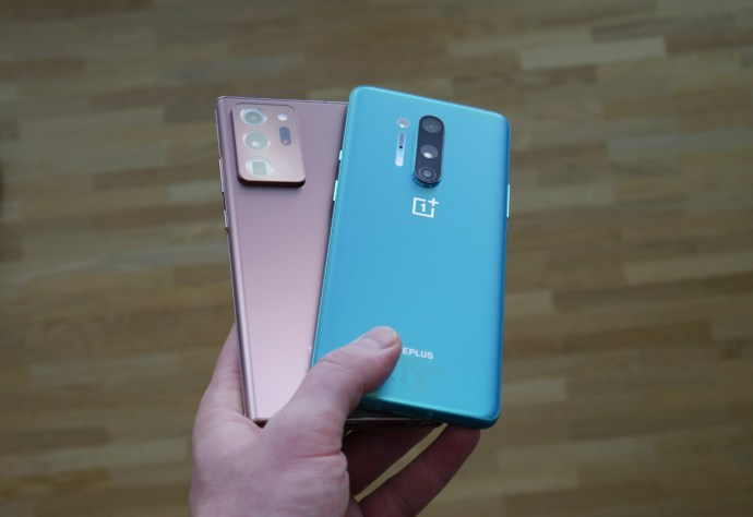 Samsung Galaxy Note 20 Ultra Oneplus 8 Pro Hand Back