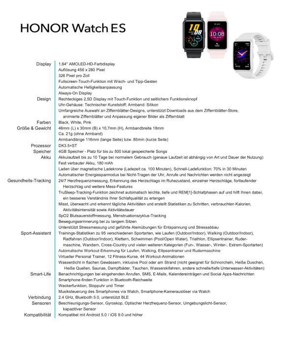Honor Watch Es Specs
