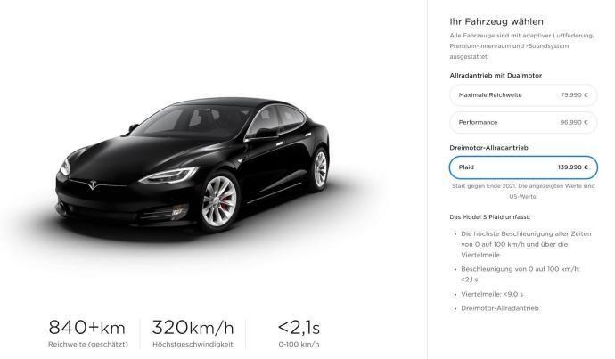 Tesla Model S Plaid Store