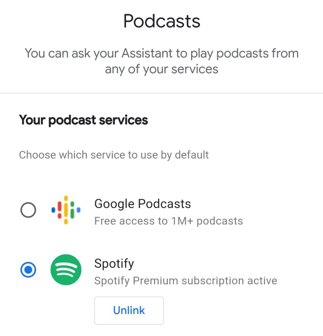 Google Assistant Podcasts Spotify