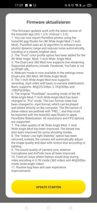 Insta360 One R Firmware Update
