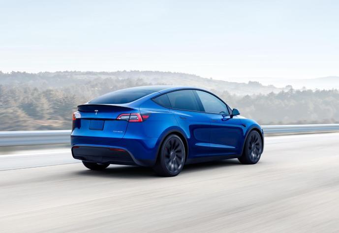Tesla Model Y Blau Header