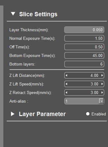 Mono Se Slicing Parameter