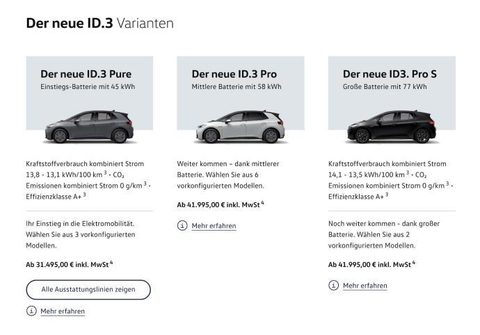 Vw Id3 Varianten