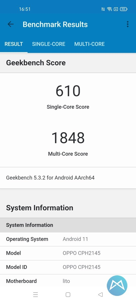 Geekbench Oppo Find X3 Lite